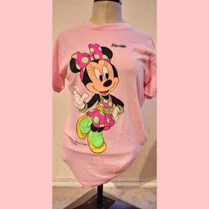 Vintage Neon Minnie Mouse graphic pink tee